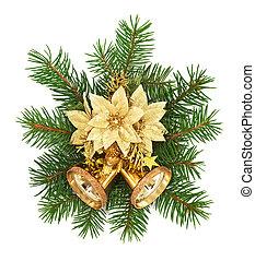 dekoration, jul, bakgrund, vit