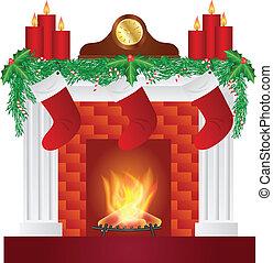 dekoration, kaminofen, weihnachten, abbildung