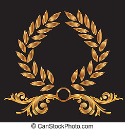 dekoration, lager krans, guld