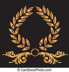 dekoration, laurbær krans, guld