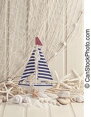 dekoration, leben, marine