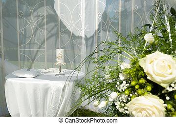 dekoration, mottagande, bröllop