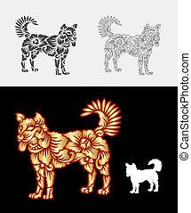 dekoration, muster, verzierung, hund