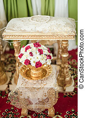 dekoration, nahaufnahme, blumengebinde, hand, traditionelle , gießen, wedding, thailändisch