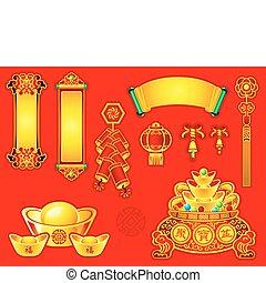 dekoration, nye, kinesisk, år