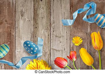 dekoration, påsk, grunge, bakgrund
