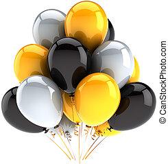 dekoration, parti, födelsedag, sväller