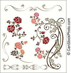 dekoration, rose, sæt