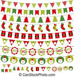 dekoration, sätta, jul