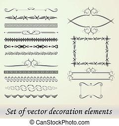 dekoration, sæt, elementer