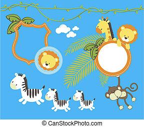 Baby elemente design dschungel karikatur vektor - Dekoration dschungel ...