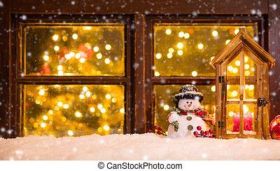 dekoration, schwelle, fenster, atmosphärisch, weihnachten