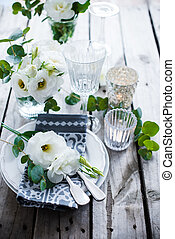 dekoration, sommer, bryllup, tabel
