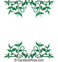 dekoration, sprießt, pflanze, umrandungen, rahmen