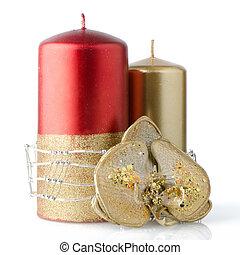 dekoration, stearinljus, jul