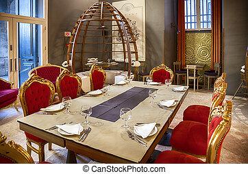 dekoration, stilig, restaurang