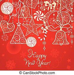 dekoration, tapete, weihnachten, rotes , hängender