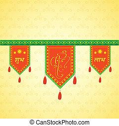 dekoration, traditionell, dörröppning, indisk, hängande