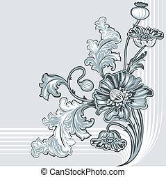 dekoration, valmue, blomst