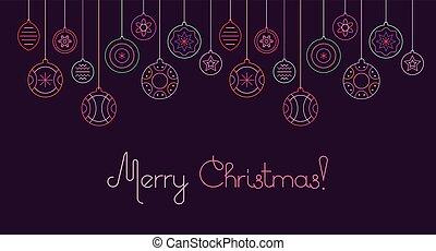 dekoration, vektor, weihnachten, abbildung