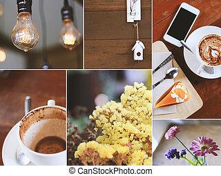 dekoration, von, a, bohnenkaffee, shop.soft, filter