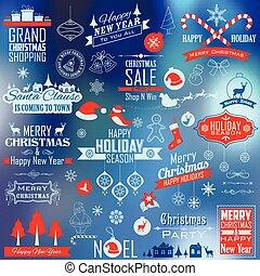 dekoration, weihnachten, design, typographisch, calligraphic