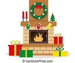 dekoration, weihnachten, kaminofen
