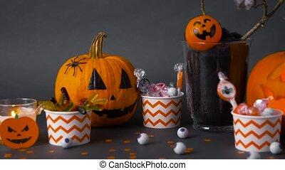 dekorationen, kürbise, süßigkeiten, halloween