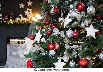 dekorationen, mit, weihnachtsbaum