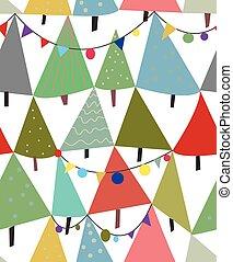dekorationen, muster, seamless, bäume, weihnachten