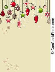 dekorationer, jul, beige baggrund, hængende, kontur