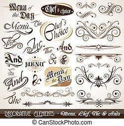 dekorativ, årgång, elementara, calligraphic