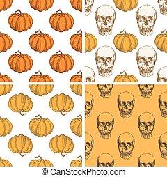 dekorativ, årgång, halloween, mönster