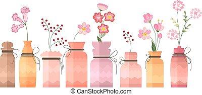 dekorativ, årgång, liten, flaskor, white.