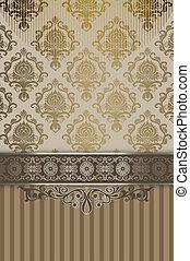 dekorativ, årgång, patterns., bakgrund