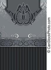 dekorativ, årgång, patterns., silver, bakgrund