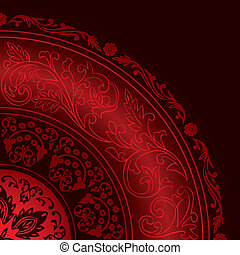 dekorativ, årgång, ram, mönster, runda, röd