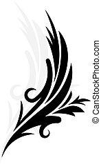 dekorativ, abbildung, vektor, schwarz, zweig, blumen-, weißes