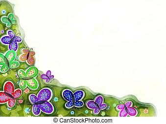 dekorativ, akvarell, fjäder, fjäril, gräns