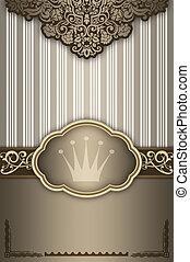 dekorativ, bakgrund, med, elegant, frame.