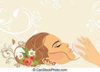 dekorativ, baner, style., skönhet