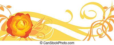 dekorativ, banner, mit, rose