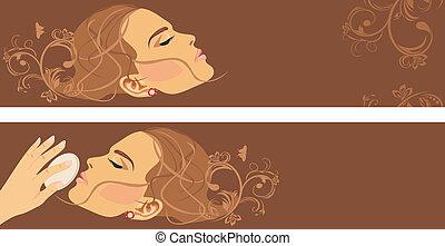 dekorativ, banner, style., schoenheit