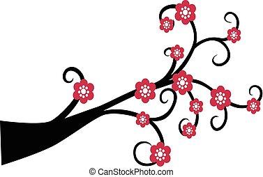 dekorativ, baum, silhouette, zweig