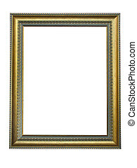 dekorativ, bild, gold, muster, rahmen, leerer