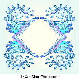 dekorativ, blå, ram, vatten-, våg