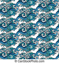 dekorativ, blaue blume, dekorativ, muster, vektor