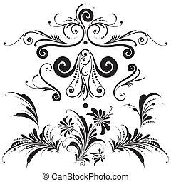dekorativ, blom formgivning, elementara
