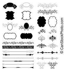dekorativ, blom formgivning, elements., vektor, sätta