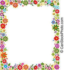 dekorativ, blom- gränsa, mönster